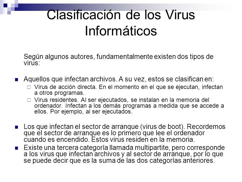 Clasificación de los Virus Informáticos