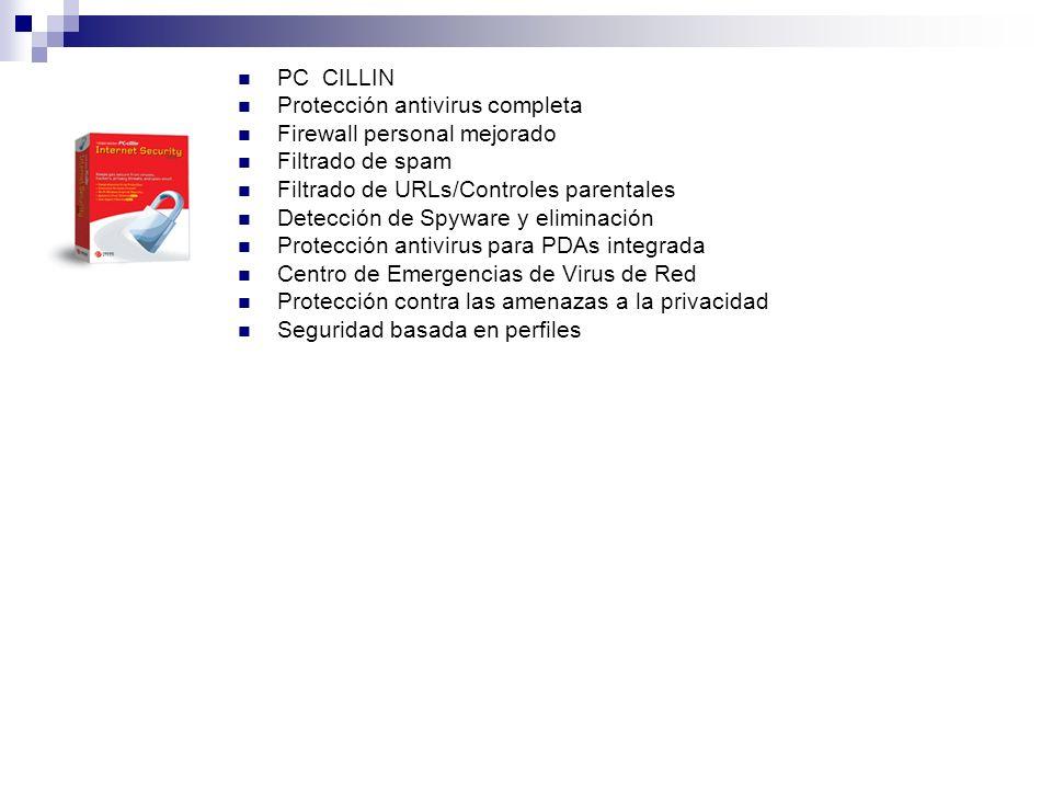 PC CILLIN Protección antivirus completa Firewall personal mejorado. Filtrado de spam. Filtrado de URLs/Controles parentales.