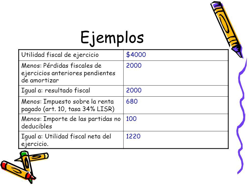 Ejemplos Utilidad fiscal de ejercicio $4000