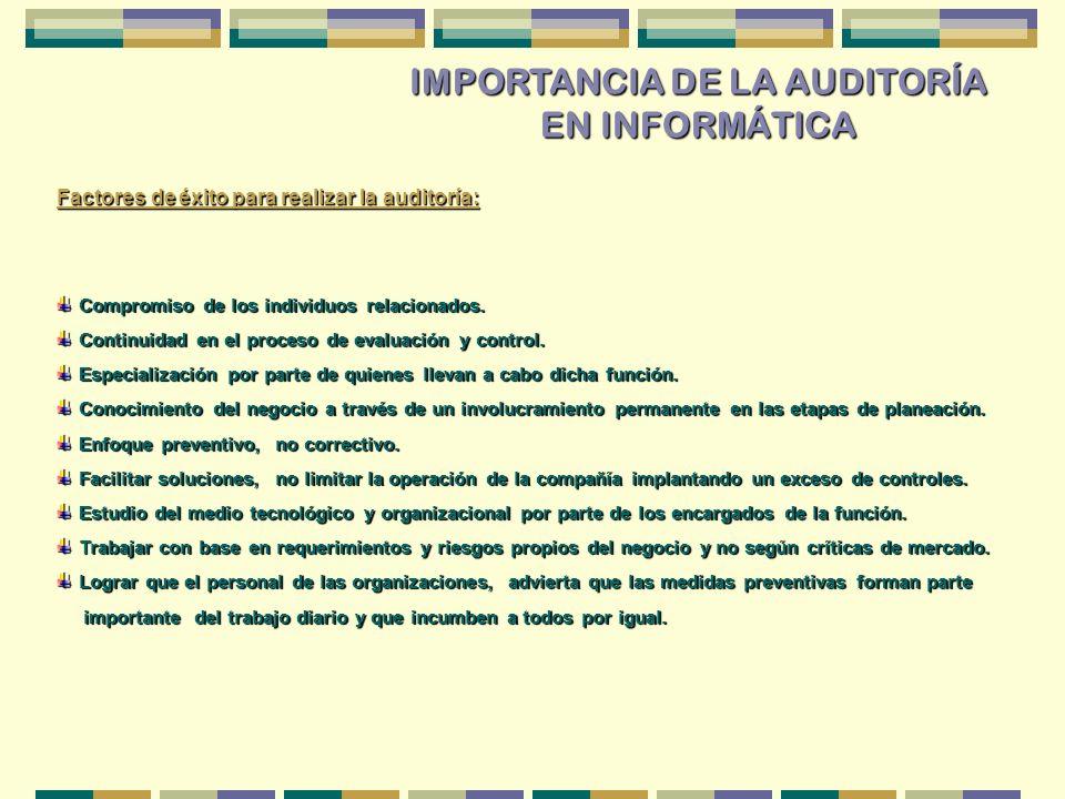 IMPORTANCIA DE LA AUDITORÍA EN INFORMÁTICA