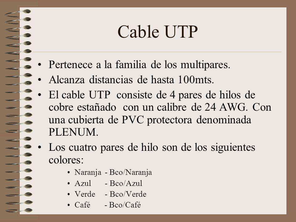 Cable UTP Pertenece a la familia de los multipares.