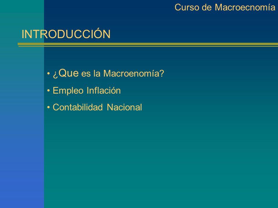 INTRODUCCIÓN Curso de Macroecnomía ¿Que es la Macroenomía