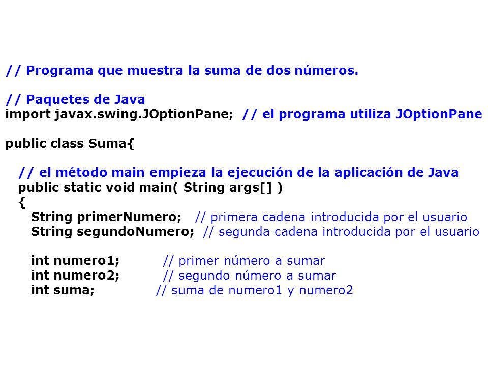 // Programa que muestra la suma de dos números.