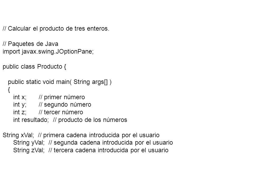 // Calcular el producto de tres enteros.