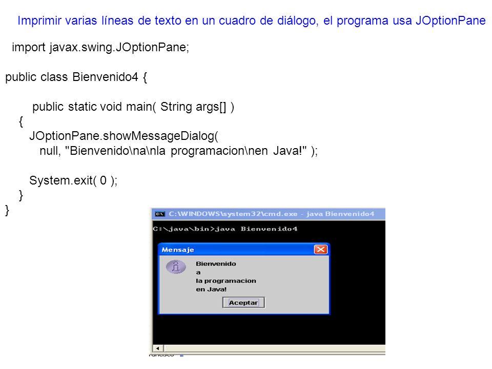 Imprimir varias líneas de texto en un cuadro de diálogo, el programa usa JOptionPane