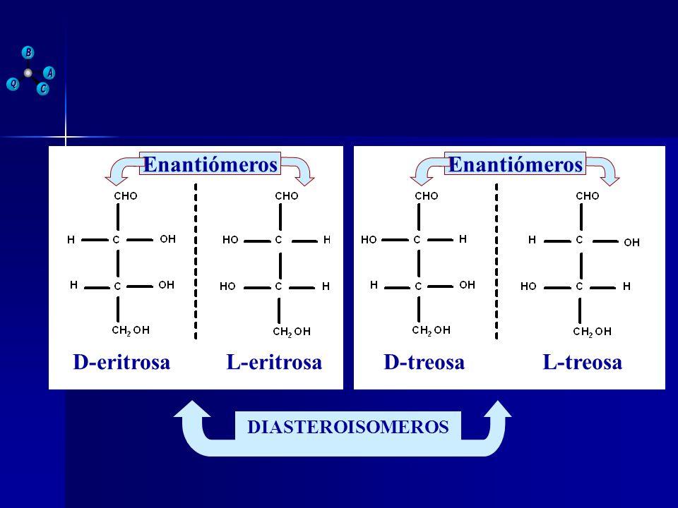 Enantiómeros Enantiómeros D-eritrosa L-eritrosa D-treosa L-treosa