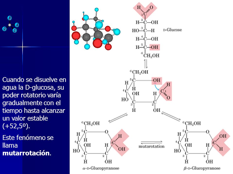 Cuando se disuelve en agua la D-glucosa, su poder rotatorio varía gradualmente con el tiempo hasta alcanzar un valor estable (+52,5º).