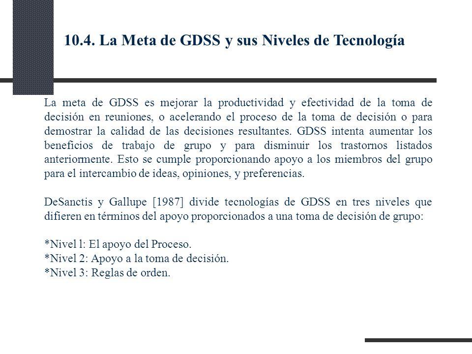 10.4. La Meta de GDSS y sus Niveles de Tecnología
