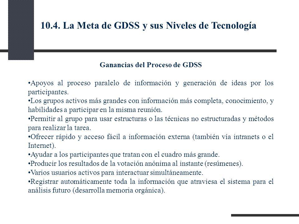Ganancias del Proceso de GDSS