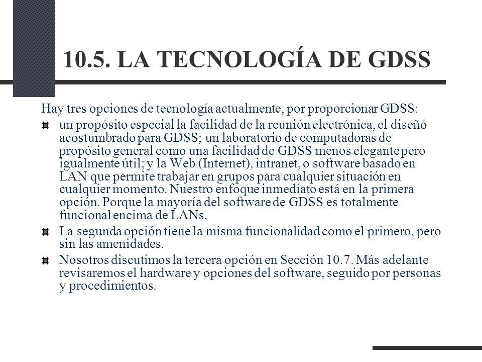 10.5. LA TECNOLOGÍA DE GDSS Hay tres opciones de tecnología actualmente, por proporcionar GDSS: