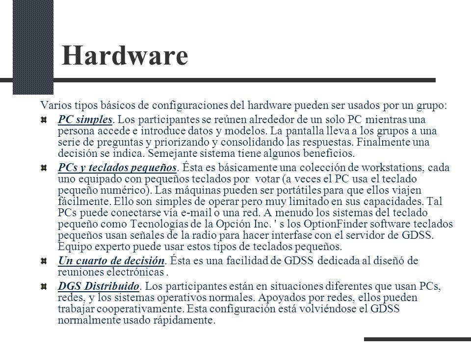 Hardware Varios tipos básicos de configuraciones del hardware pueden ser usados por un grupo: