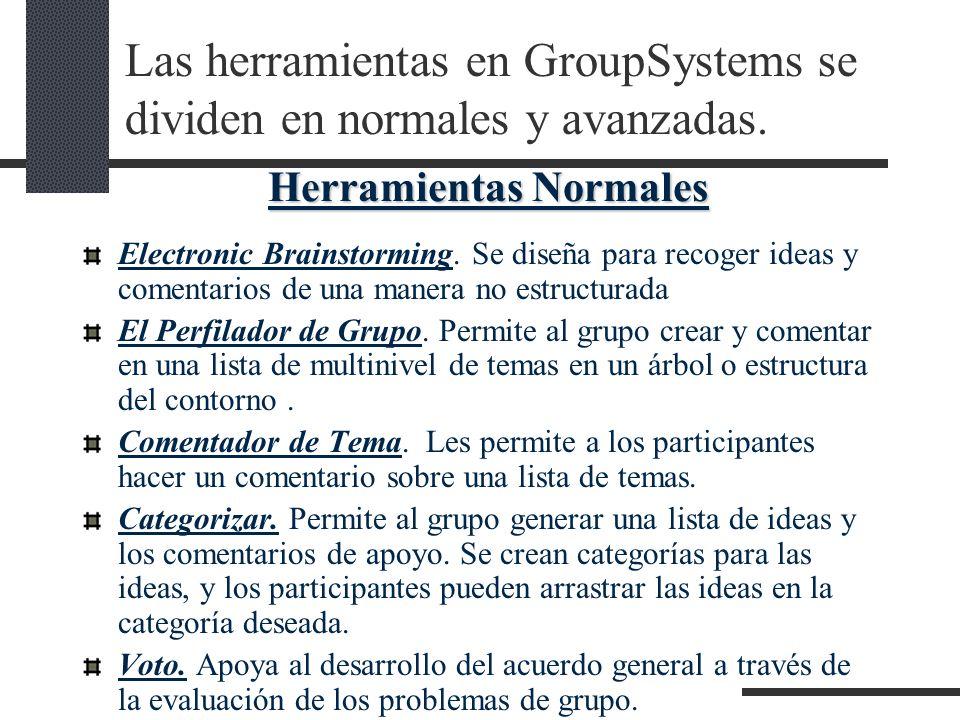 Las herramientas en GroupSystems se dividen en normales y avanzadas.