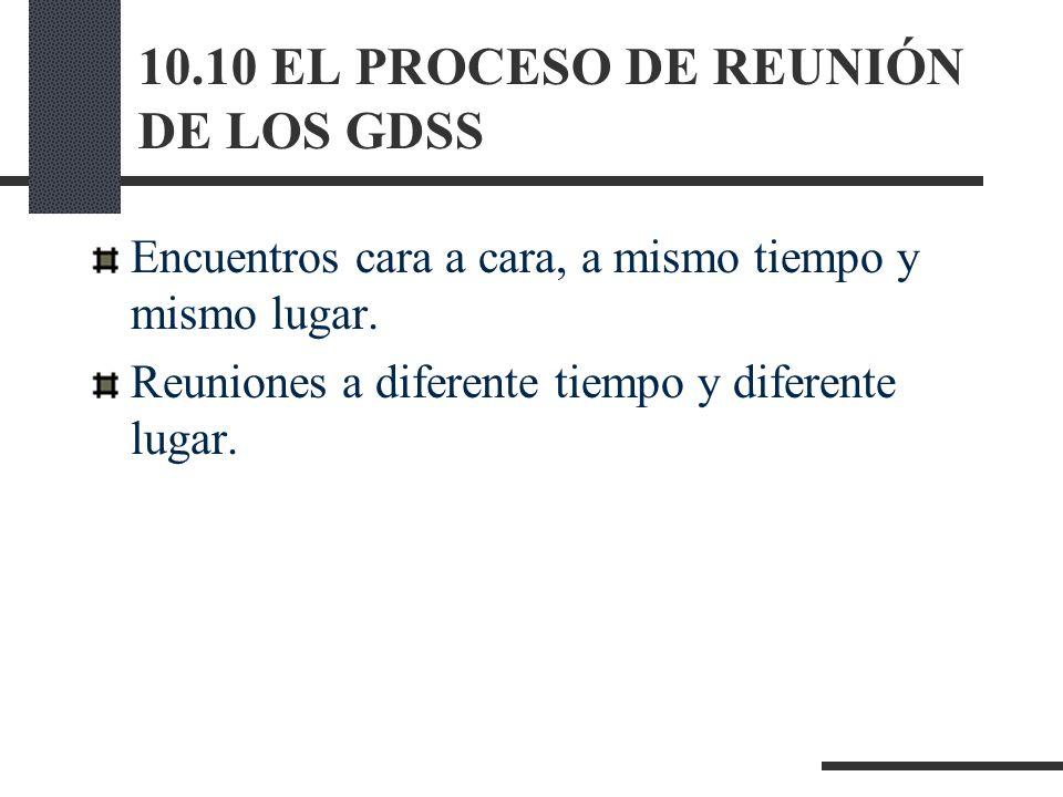 10.10 EL PROCESO DE REUNIÓN DE LOS GDSS