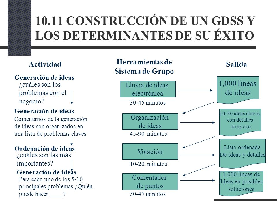 10.11 CONSTRUCCIÓN DE UN GDSS Y LOS DETERMINANTES DE SU ÉXITO