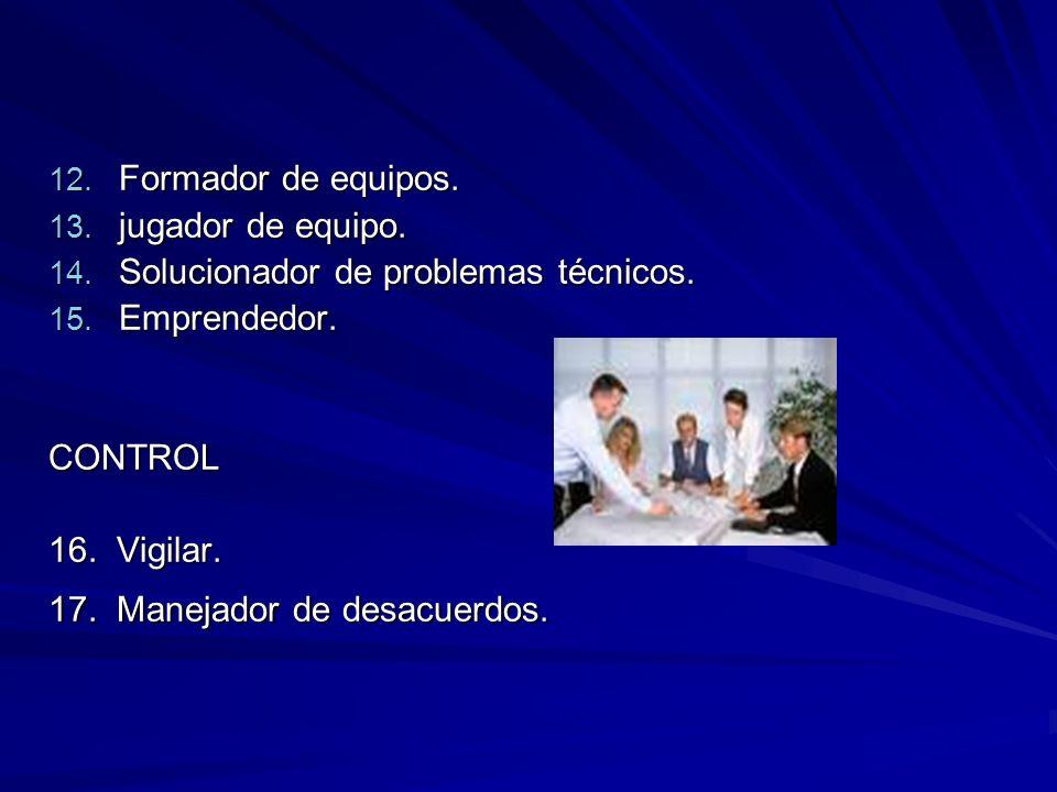 Formador de equipos. jugador de equipo. Solucionador de problemas técnicos. Emprendedor. CONTROL.