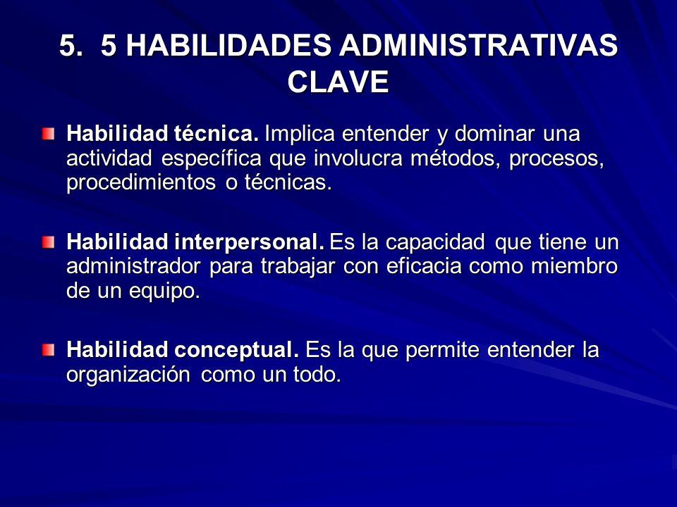5. 5 HABILIDADES ADMINISTRATIVAS CLAVE