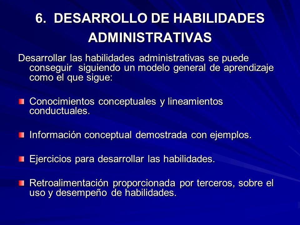 6. DESARROLLO DE HABILIDADES ADMINISTRATIVAS
