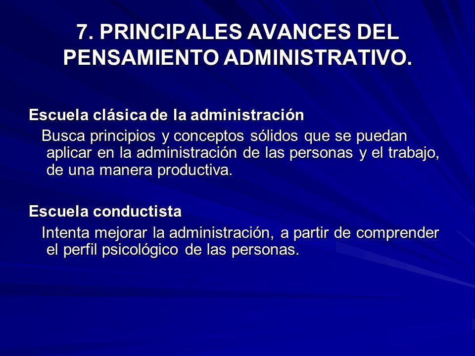 7. PRINCIPALES AVANCES DEL PENSAMIENTO ADMINISTRATIVO.