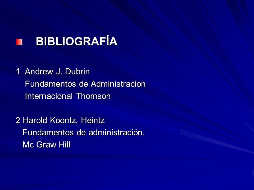 BIBLIOGRAFÍA 1 Andrew J. Dubrin Fundamentos de Administracion