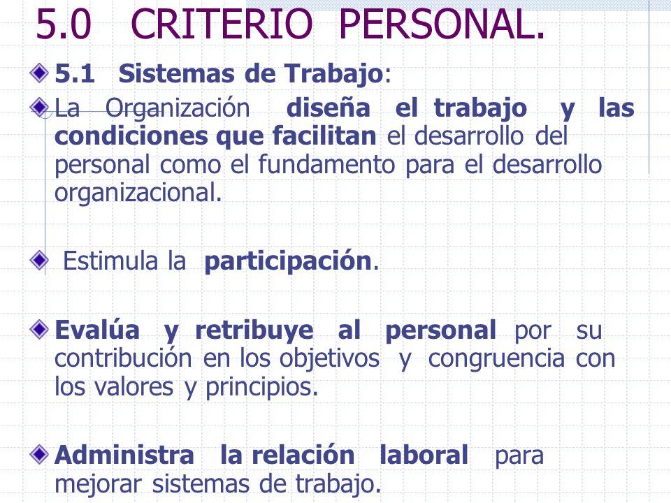 5.0 CRITERIO PERSONAL. 5.1 Sistemas de Trabajo: