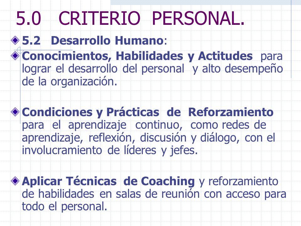 5.0 CRITERIO PERSONAL. 5.2 Desarrollo Humano: