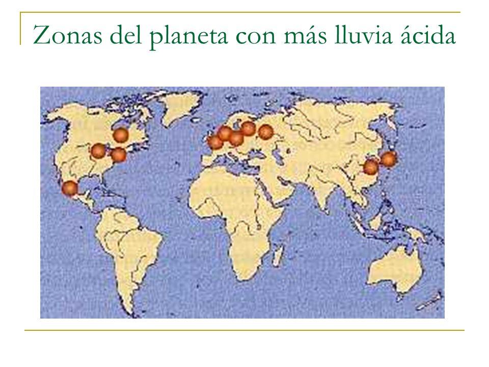 Zonas del planeta con más lluvia ácida