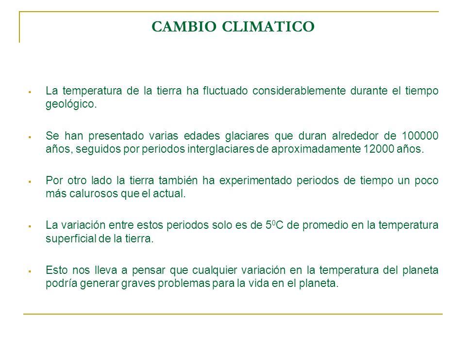 CAMBIO CLIMATICO La temperatura de la tierra ha fluctuado considerablemente durante el tiempo geológico.