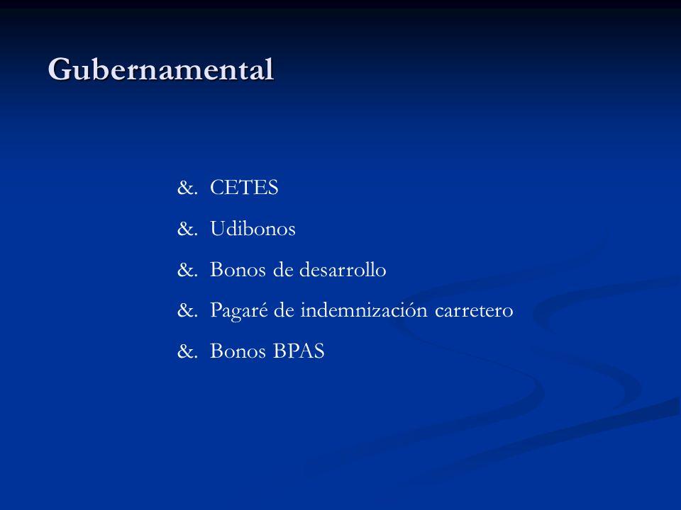 Gubernamental &. CETES &. Udibonos &. Bonos de desarrollo