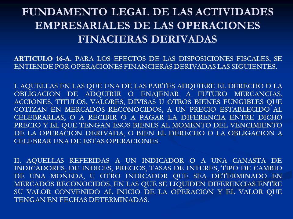 FUNDAMENTO LEGAL DE LAS ACTIVIDADES EMPRESARIALES DE LAS OPERACIONES FINACIERAS DERIVADAS