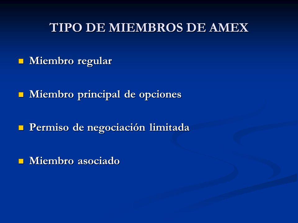 TIPO DE MIEMBROS DE AMEX