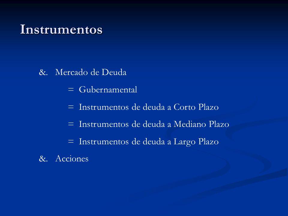 Instrumentos &. Mercado de Deuda = Gubernamental