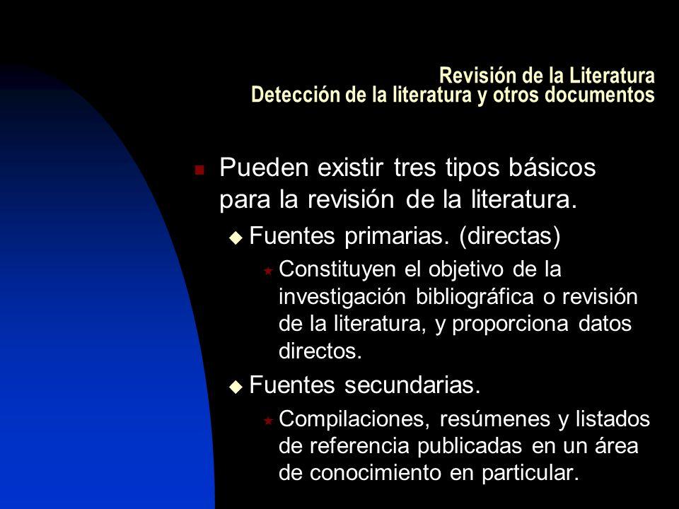 Pueden existir tres tipos básicos para la revisión de la literatura.