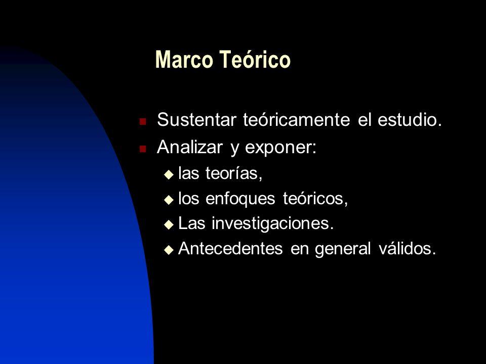Marco Teórico Sustentar teóricamente el estudio. Analizar y exponer:
