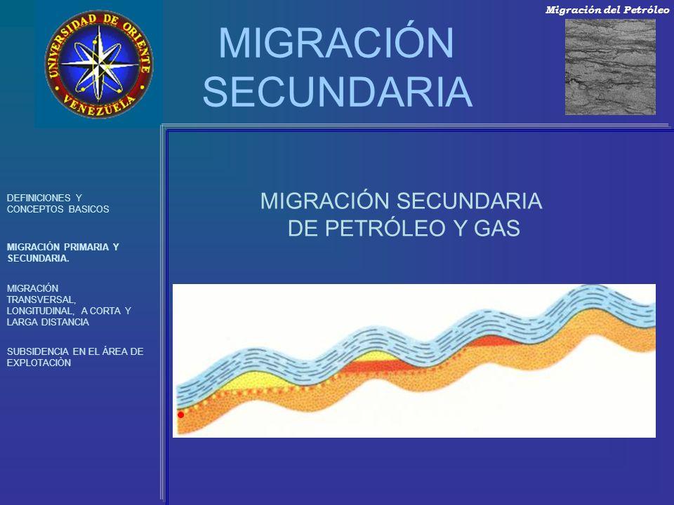 MIGRACIÓN SECUNDARIA MIGRACIÓN SECUNDARIA DE PETRÓLEO Y GAS