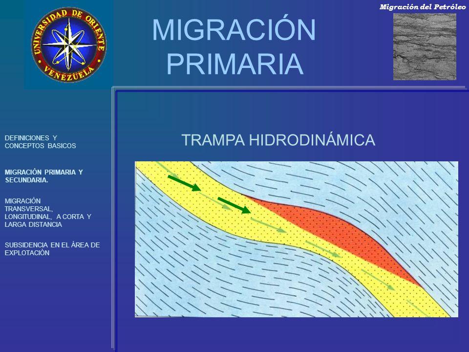MIGRACIÓN PRIMARIA TRAMPA HIDRODINÁMICA Migración del Petróleo