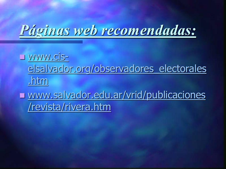 Páginas web recomendadas: