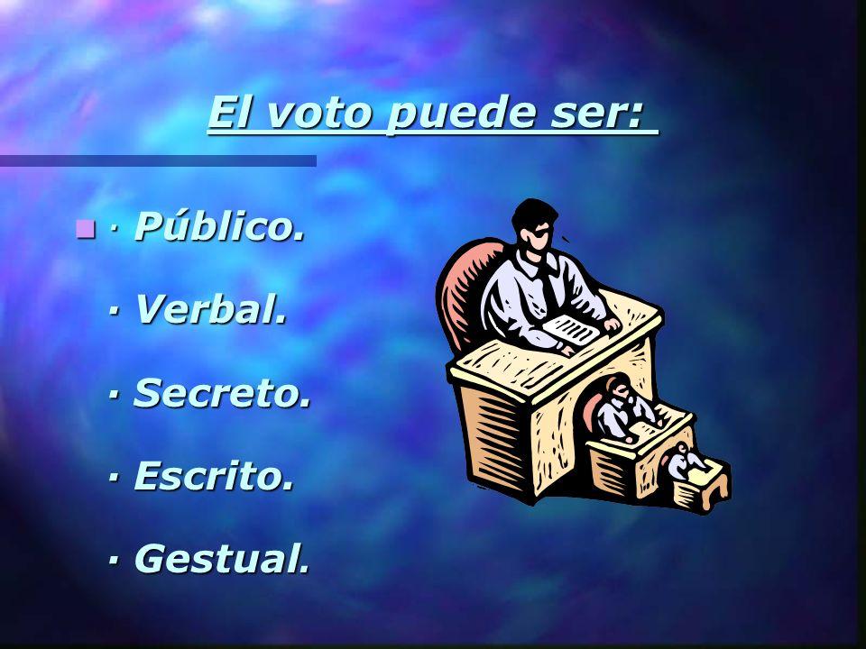 El voto puede ser: · Público. · Verbal. · Secreto. · Escrito. · Gestual.