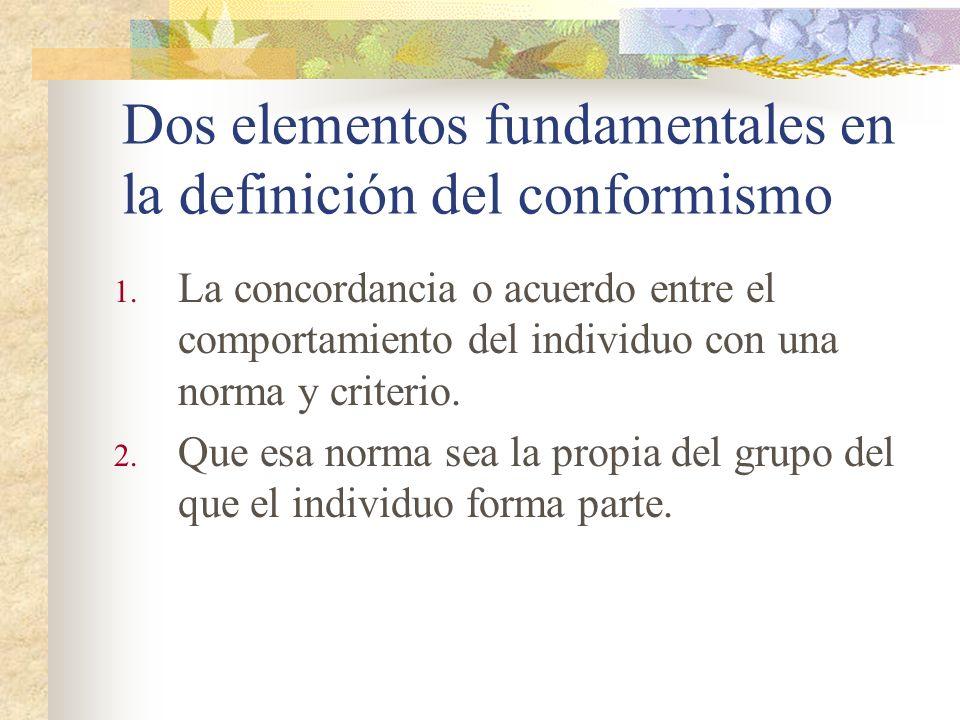 Dos elementos fundamentales en la definición del conformismo