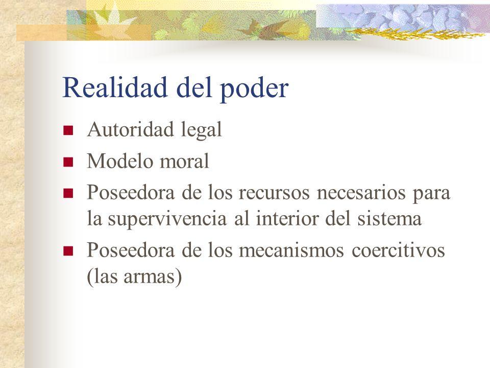 Realidad del poder Autoridad legal Modelo moral