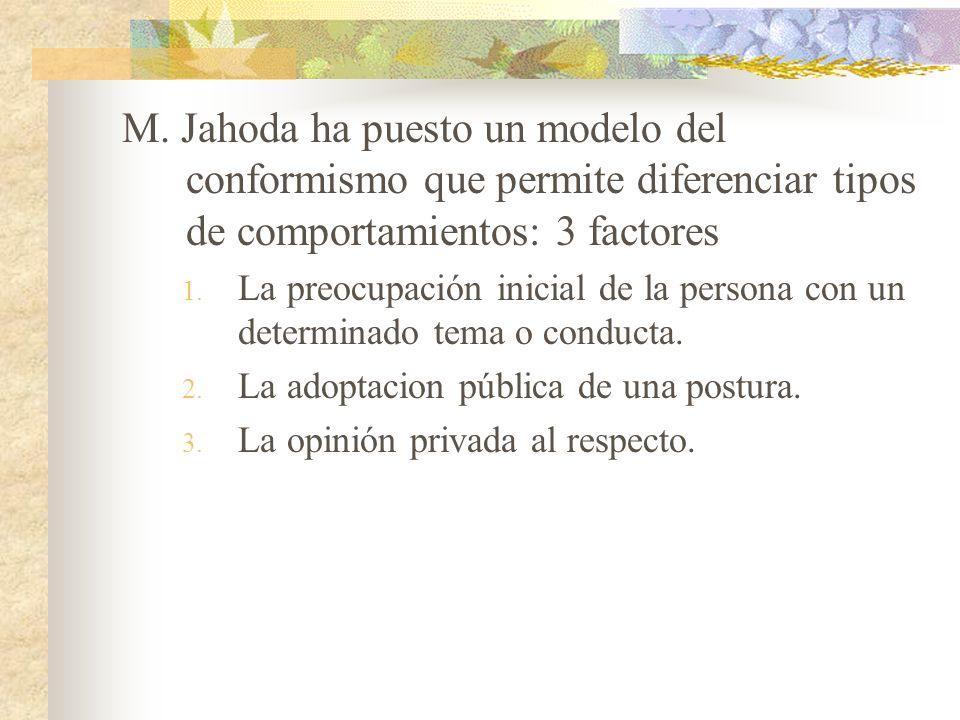 M. Jahoda ha puesto un modelo del conformismo que permite diferenciar tipos de comportamientos: 3 factores