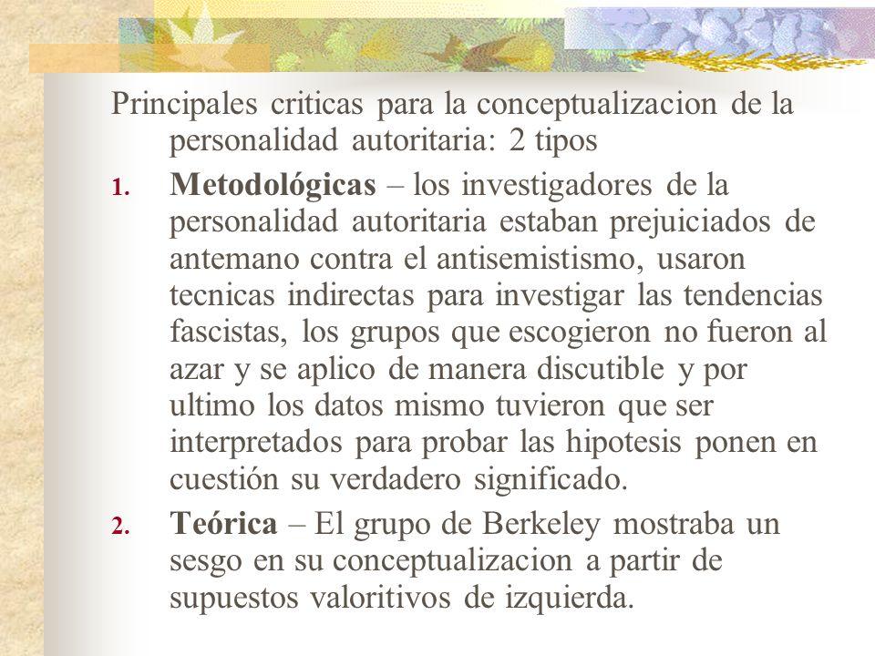 Principales criticas para la conceptualizacion de la personalidad autoritaria: 2 tipos