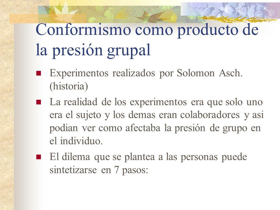 Conformismo como producto de la presión grupal