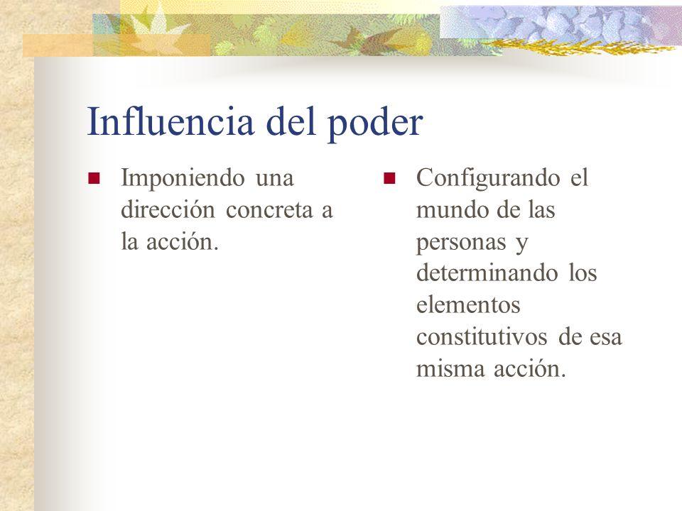 Influencia del poder Imponiendo una dirección concreta a la acción.