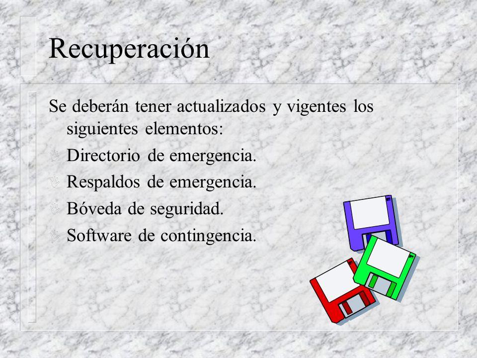 Recuperación Se deberán tener actualizados y vigentes los siguientes elementos: Directorio de emergencia.