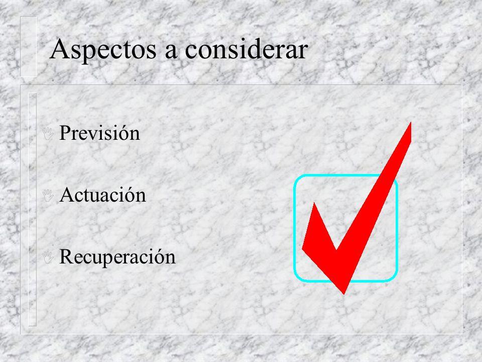 Aspectos a considerar Previsión Actuación Recuperación