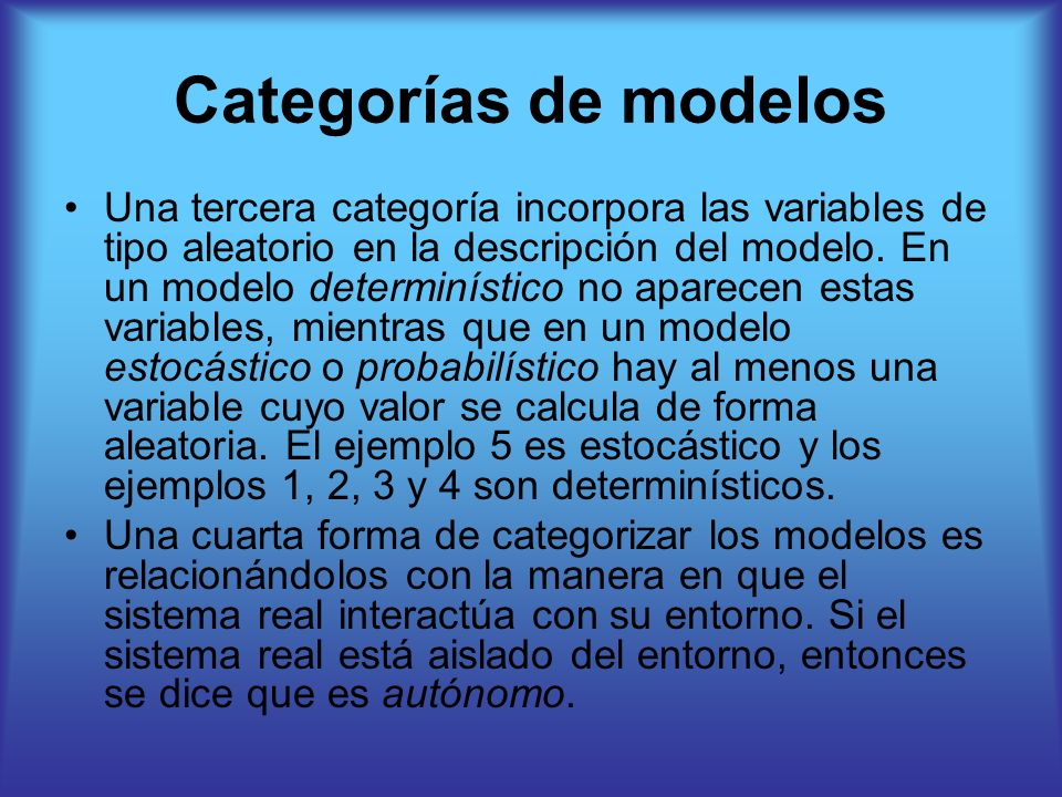 Categorías de modelos