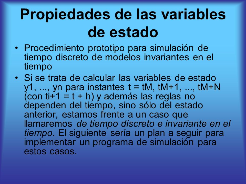 Propiedades de las variables de estado