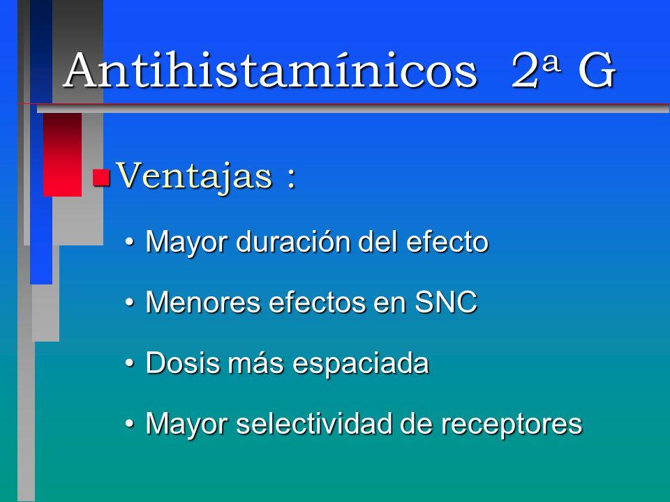 Antihistamínicos 2a G Ventajas : Mayor duración del efecto