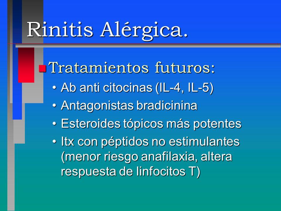 Rinitis Alérgica. Tratamientos futuros: Ab anti citocinas (IL-4, IL-5)