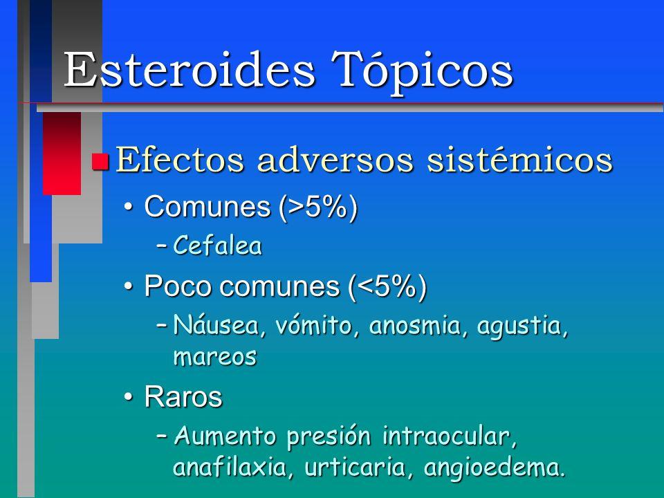 Esteroides Tópicos Efectos adversos sistémicos Comunes (>5%)